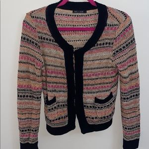 Nic + Zoe Crochet Cardigan Pink Black Tan Small